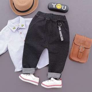 Kids Boys Black with Gray Stripe Long Pants