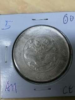 China 1/2 yuan yunnan 1908 gEF/AU