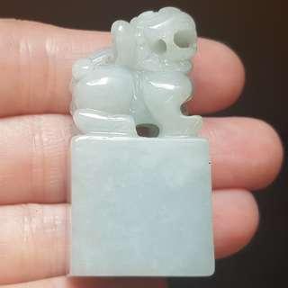 Certified Type A Jadeite Seal Display Green Jade Lion 狮子 印章