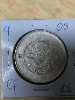 Yunnan 1908,1/2 yuan ,EF grade