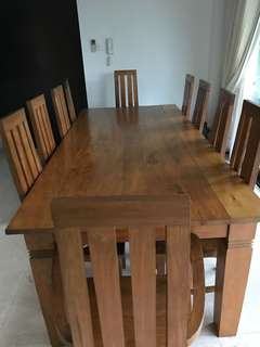 Burmese teak 10 seater dining table and chairs