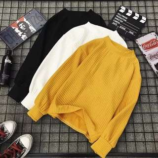 Plain Knitted Cotton Sweater