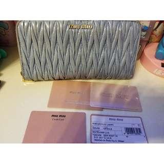 (100%正貨) Miu Miu粉藍色長銀包 Baby Blue Miu Miu Wallet