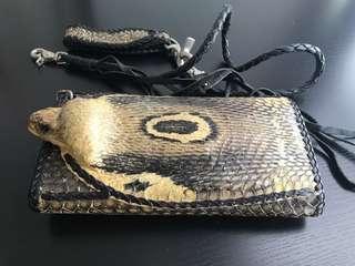 真蛇皮長型銀包附連扣