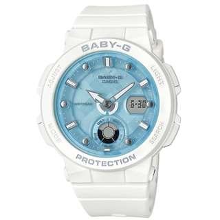 CASIO Baby-G BGA-250 series BGA-250-7A1 白色淺藍面 霓虹燈照明 BabyG BGA250