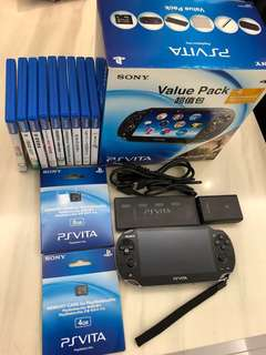 PS Vita 主機連9 隻games + 2 張咭(4GB+ 8GB)