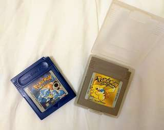 Gameboy Cartridges Pokemon Yellow and Blue