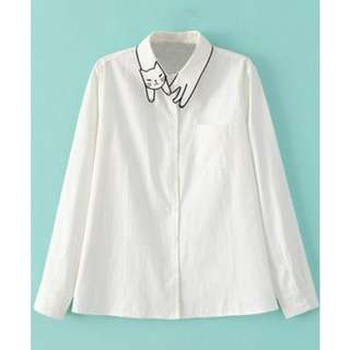 Romwe White Cat Embroidery Collar Button Shirt