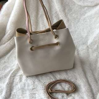 Tote bag - leather beige and blush colour multi purpose bag, bucket bag