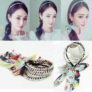 Imitated Pearl Hair Bows Lace Flower Hairbands Headband