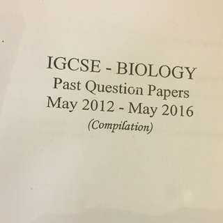 IGCSE Biology Past Papers Compilation Book
