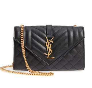 AUTHENTIC NEW YSL SMALL ENVELOPE BAG IN QUILTED AND TEXTURED BLACK LEATHER