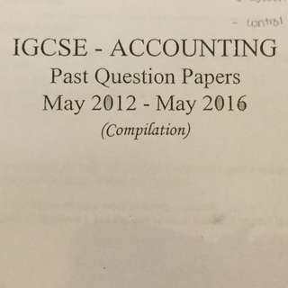 IGCSE Accounting Past Papers Compilation Book