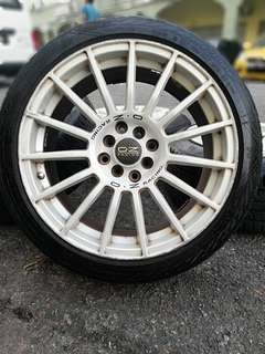 Oz racing superturismo gt 17 inch sports rim perdana tyre 70%. *happy2 raya*