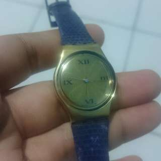 swatch navy gold watch for ladies