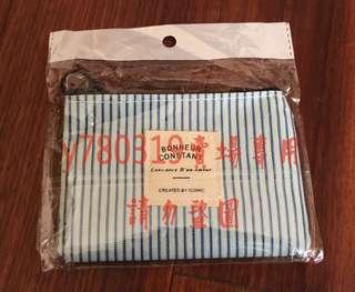 🚚 【零錢包】小巧零錢包 可愛系 多用途 直線條 條紋 藍色 萬用拉鍊包