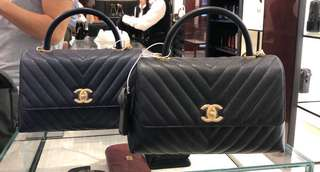 Chanel Coco Handle Navy Calf Skin Medium