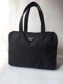 Authentic Prada Black Nylon Boston Bag