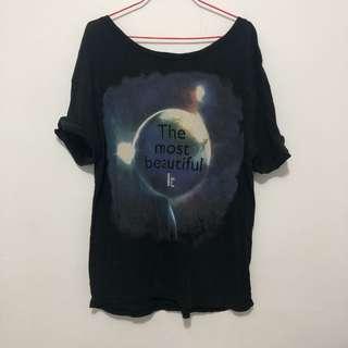 🚚 星空寬鬆大圓領上衣T-shirt