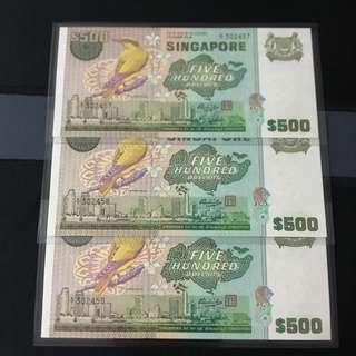 3run (302457-302459) Bird $500 Note