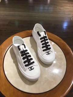 Chanel White and Black Sneakers