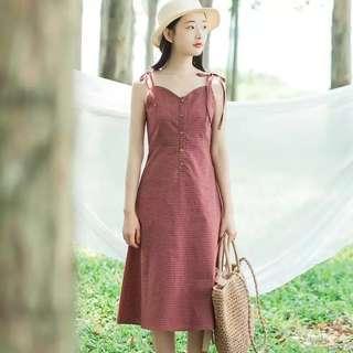 OEM // Cotton Linen Plaid Dungaree Dress - Red