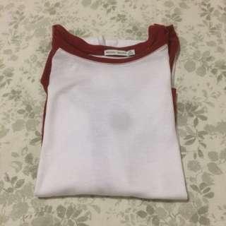 Bershka Baseball 3/4 Sleeve T-Shirt