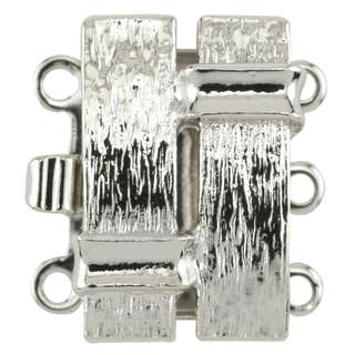🚚 BEADALON Upper Clasp Findings, Rectangle Modern Design 3 Strand (Rhodium Plated)