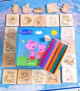 NEW~~ Peppa Pig 48 wooden coloring pieces set