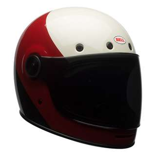 Bell Bullitt SIZE MEDIUM ONLY Triple Threat Full Face Motorcycle Motorbike Cafe Racer Retro Vintage Helmet Gloss Red Black White Helmet