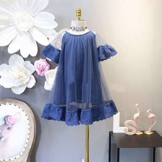 Girls round neck gauze lace dress