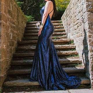 NAVY SEQUIN PROM DRESS