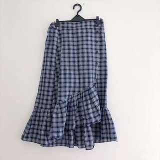 經典藍格魚尾裙