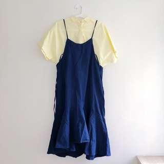 超推!寶藍魚尾裙洋裝(黃色襯衫分開販售哦)