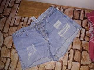 High waist Denim Ripped Shorts