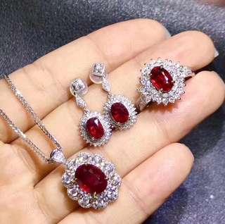 【紅寶石3件式套組】天然紅寶石經典戴妃款3件套 項鍊 戒指 耳環組