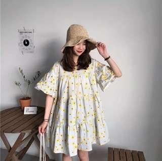 Summer Korean loose floral back strap bow short-sleeved dress