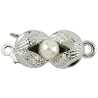 🚚 BEADALON Upper Clasp Findings, Rectangle Floral Imitation Pearl (Rhodium Plated)
