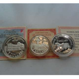 1981, 1987 & 1988 Singapore $5 Silver Proof Coin ( Lots of 3 coins )