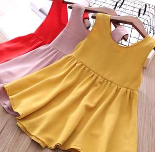 Girls Sleeveless Solid Color Halter Dress