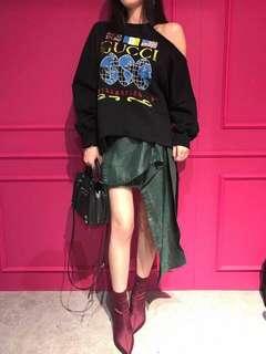 🚚 韓國 設計師款高磅緞面絲光花布造型裙(綠)