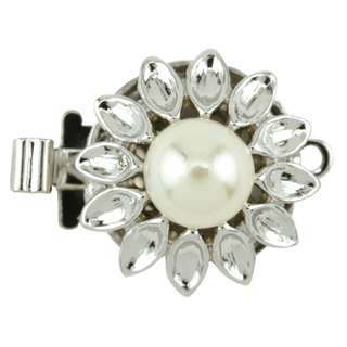 🚚 BEADALON Upper Clasp Findings, Round Petal Imitation Pearl (Rhodium Plated)