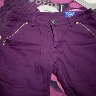 Men's Casual Short Slim Fit Pants Purple