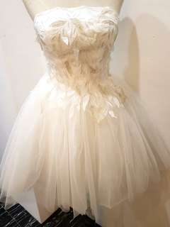 PROMO $88 Short white gold feather wedding gown (solemnisation) rental
