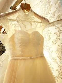 PROMO $250nett Silhouette crystal collar wedding bridal gown in cream rental
