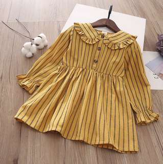 Girls Dolls Vertical Striped Casual Dress