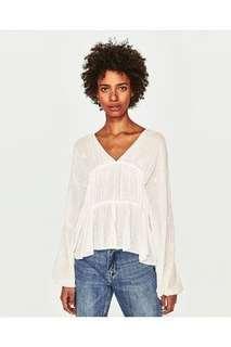 Zara white embroidery top