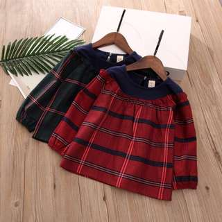 Girl round neck check shirts