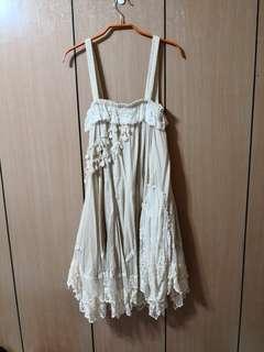 🚚 WaZo唯美森林系米色蕾絲無袖洋裝裙