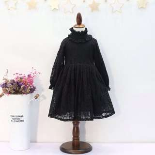 Girls sweet lace plus velvet temperament dress